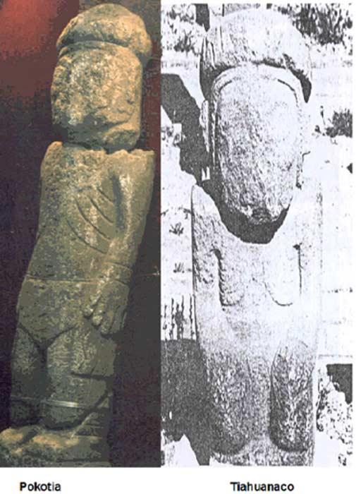 Pokotia statue, left and Tiahuanaco statue, right.