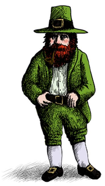 Illustration of a modern stereotypical leprechaun.