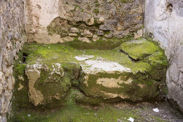 A stone bed in one of Pompeii's brothels