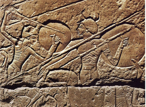 A stone carving on the mortuary temple of Ramesses III