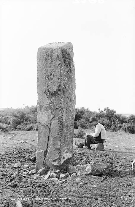 Photograph of ogham stone near Killala, Co. Mayo, Ireland. Circa 1890.