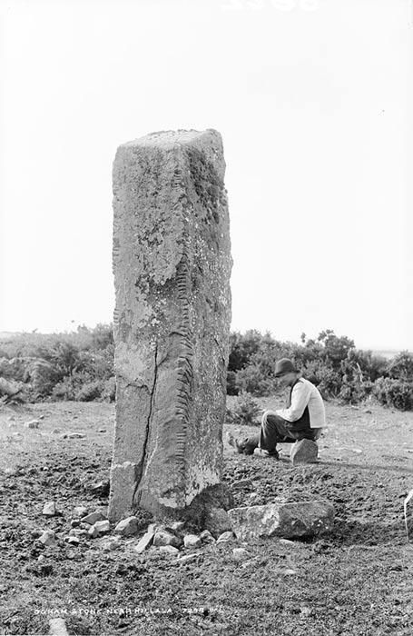 Photograph of ogham stone near Killala, Co. Mayo, Ireland. Circa 1890.