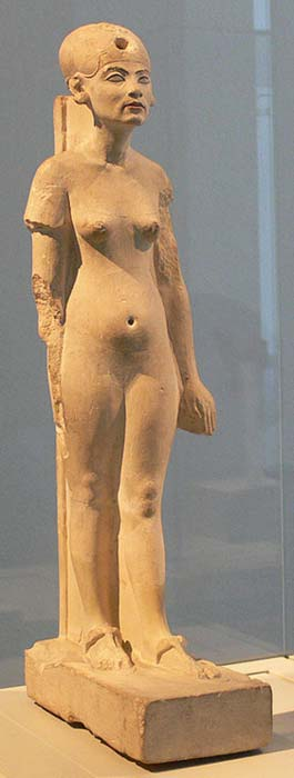 A standing/striding figure of Nefertiti made of limestone.