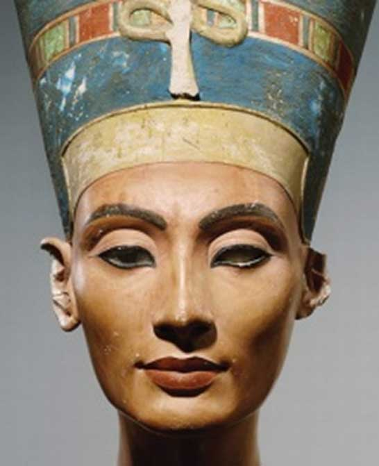 Detail of what is undoubtedly the world's most famous painted stucco-coated limestone bust. Queen Nefertiti, the 'Great Royal Wife' of Akhenaten was one of the most powerful women of her time. Evidence suggests she co-ruled with her husband, and later independently, upon his death. Egyptian Museum, Berlin. (Photo: Artistically/Public Domain)