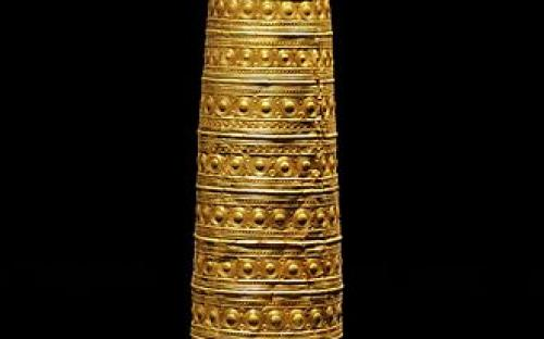 The Berlin Gold Hat is the best preserved specimen among the four known conical Golden hats known from Bronze Age Europe so far. (Source: Wikipedia)