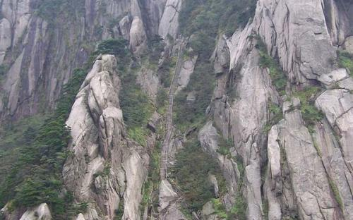 Carved steps to Tiandu Peak (Public Domain)