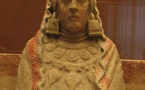 The Lady of Baza is a famous example of Iberian sculpture by the Bastetani. It is a limestone female figure with traces of painted detail in a stuccoed surface that was found on July 22, 1971. (Source: Wikipedia)