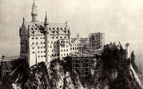 Neuschwanstein Castle during construction. (Public Domain)
