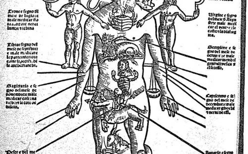 Anatomical man or cosmic man, representing the correlation between the human body, the World body and the Celestial body.