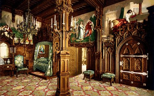 Pictures of the Tristan story, bedroom, Neuschwanstein Castle, Upper Bavaria, Germany. Photograph by Joseph Albert 1886, postcard published ca. between 1890 and 1900. Detroit Publishing Co. print no. 17482. (Public Domain)