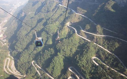 View of the Heaven-Linking Avenue from a cable car. (Public Domain)