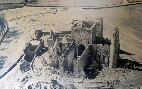 Aerial view of the Rock of Cashel, circa 1970, prior to any modern work (CC BY 3.0)