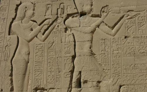 Reliefs of Cleopatra VII and her son by Julius Caesar, Caesarion at the Dendera Temple (CC BY-SA 3.0)