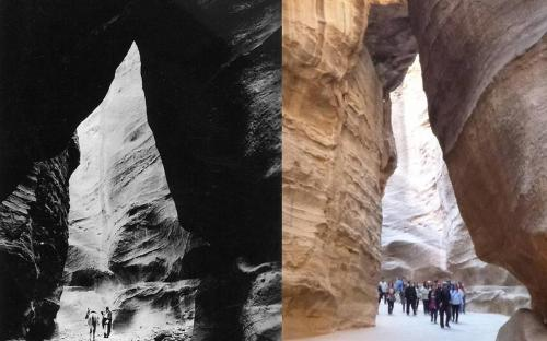 Petra siq in 1947 (left) compared with the same location in 2013 (CC BY-SA 3.0)