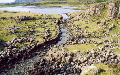 "More details The ""Viking canal"" at Rubha an Dùnain (Public Domain)"