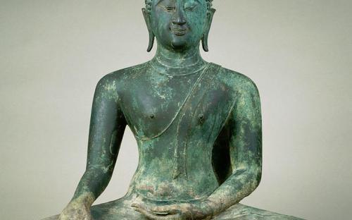 "Seated Buddha in ""Maravijaya"", second half of century (Sukhothai). (Public Domain)"