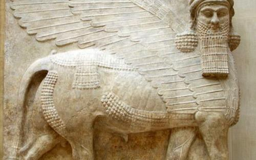An Assyrian winged bull, also known as a shedu