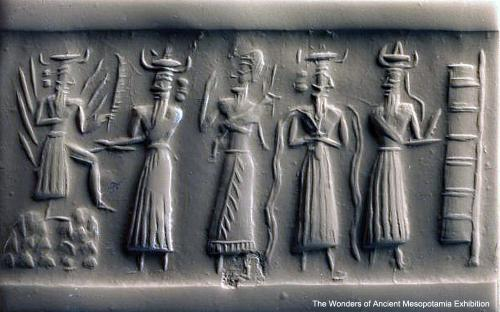 Serpentine cylinder seal showing gods