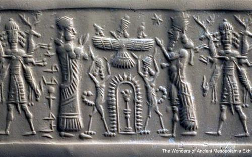 An Assyrian carnelian cylinder seal depicting a Worshipper on the left and a god on the right