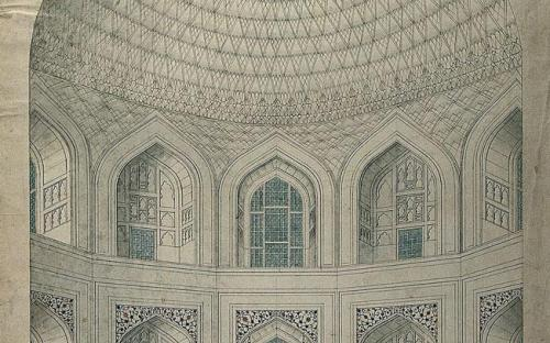 Interior view of the vaulted dome over the tombs of Shah Jahan and Mumtaz. (CC BY-SA 4.0)