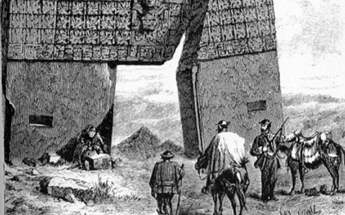 """""""Gateway of the Sun"""", Tiwanaku, drawn by Ephraim Squier in 1877. The scale is exaggerated in this drawing. (Public Domain)"""