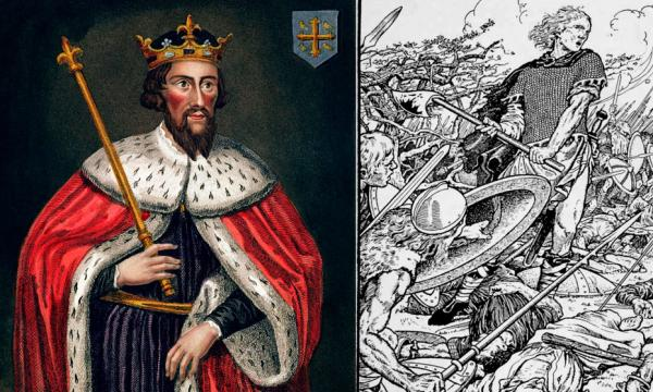 Left - Alfred the Great, painting in the Bodleian Gallery. Right - Alfred the Great at the Battle of Ashdown.