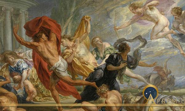 Apollo and Diana killing the children of Niobe by Jan Boeckhorst  (1668)