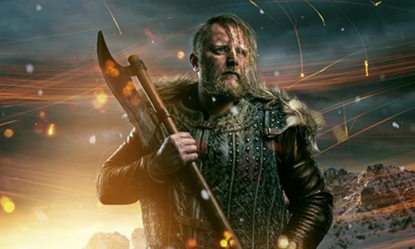 A Viking warrior with an axe. Eric Bloodaxe raided around Britain before settling in to a kingship there.