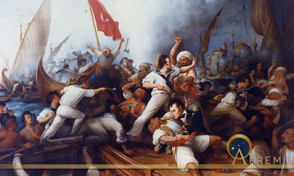 Decatur Boarding the Tripolitan Gunboat during the bombardment of Tripoli, 3 August 1804. Lieutenant Stephen Decatur (lower right center) in mortal combat with the Tripolitan Captain by Dennis Malone Carter (19th century)
