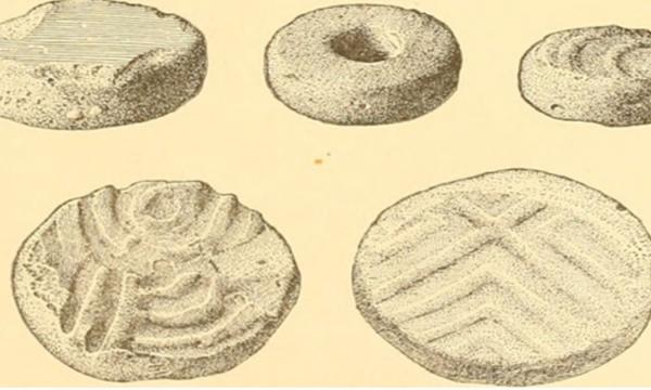 """Page 632 of """"Annual report of the Bureau of American Ethnology to the Secretary of the Smithsonian Institution 1895"""" disks cut from sherds of stoneware from the South Appalachian region."""