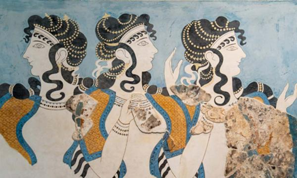 """""""Ladies in Blue"""" fresco at Knossos Palace, Minoan archaeological site in Crete, Greece."""