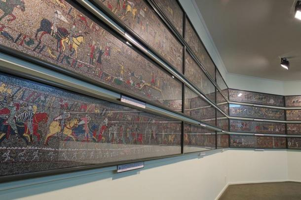 Sections of the 1066 Medieval Mosaic (metal re-creation) in Geraldine, New Zealand.