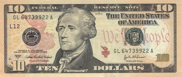 The 2004 ten dollar bill features Alexander Hamilton, whose legacy Eliza Hamilton worked so hard to preserve. (Public domain)