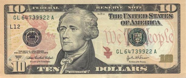 The 2004 ten dollar bill features Alexander Hamilton, whose legacy Eliza Hamilton worked so hard to preserve. (Public domain)