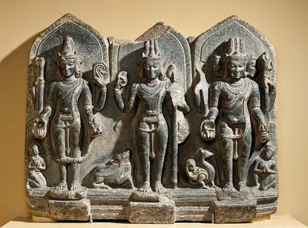 10th century artwork showing the trinity of Vishnu, Shiva, and Brahma. (Fae / Public Domain)