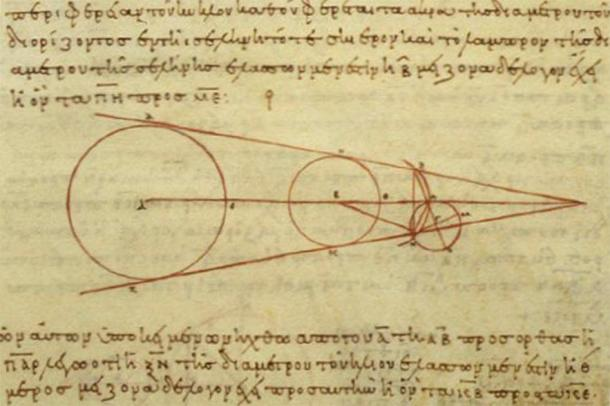 10th century AD Greek copy of Aristarchus of Samos's 2nd century BC calculations of the relative sizes of the Sun, Moon and the Earth. (Public domain)