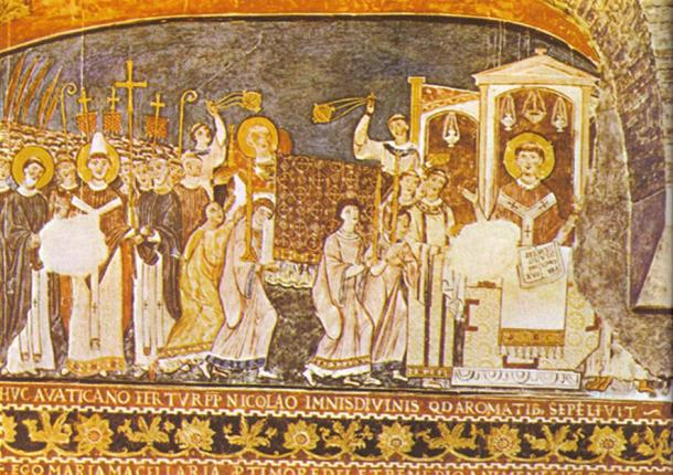 11th-century fresco in the Basilica of San Clemente, Rome: Saints Cyril and Methodius bring Saint Clement's relics to Rome. (Public Domain)