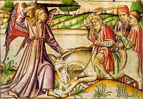 14th century Bible miniature of Ballam and his donkey. (Public Domain)