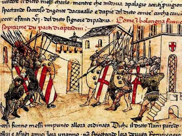 Depiction of a 14th-century fight between the militias of the Guelf and Ghibelline factions in Bologna