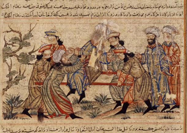 14th-century painting of the successful assassination of Nizam al-Mulk, vizier of the Seljuq Empire, by an ancient assassin from the Hashashins. It is often considered their most significant assassination. (Bahatur / Public Domain)