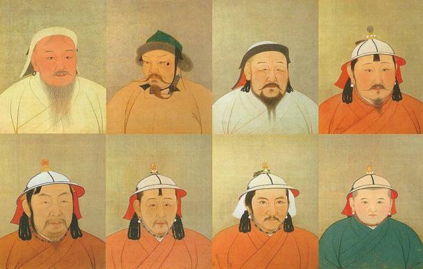 Eight of 15 Great Khagans of the Mongolian Empire. 'Khagan' means 'Great Khan' and refers to a leader of a khaganate, also known as a khanate