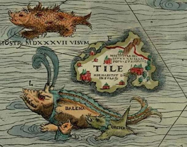 1539 map of Thule (Tile) that shows a monster and whales.