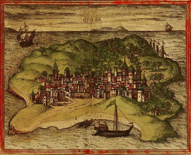 A 1572 depiction of the city of Kilwa from Georg Braun and Frans Hogenberg's atlas 'Civitates orbis terrarum'