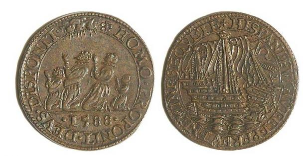 A 1588 jeton from Dordrecht, Netherlands, with a representation of the destruction of the Armada.