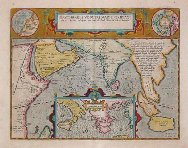 A 1597 map depicting the locations of the Periplus of the Erythraean Sea. (Abraham Ortelius / Public domain)