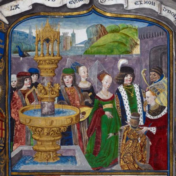 Detail of a 15th-century miniature depicting an allegorical court of love (Royal 16 F II, f. 1) British Library