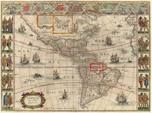 """1621 map by Willem Blaeu showing Lake Parime straddling the equator, with """"Manoa al Dorada"""" on the north shore, just below Lake Cassipa."""