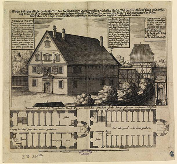 1627 engraving of the malefizhaus of Bamberg, Germany, where suspected witches were held and interrogated.