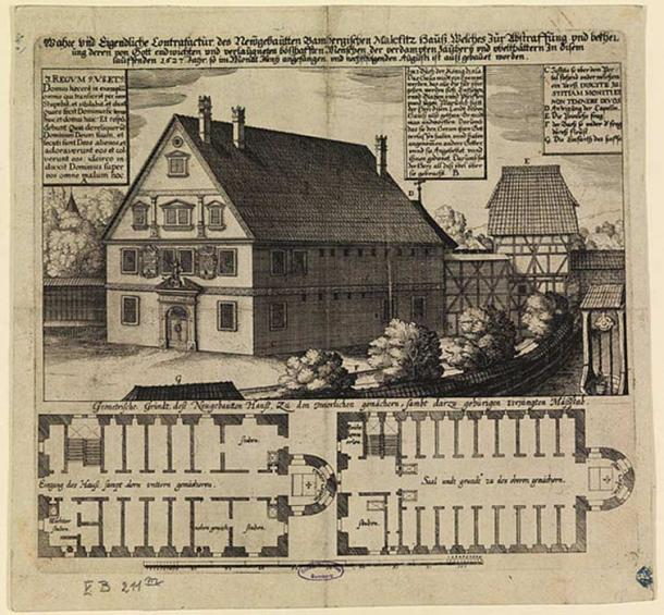 1627 engraving of the malefizhaus of Bamberg, Germany. This is one location where suspected witches were held and interrogated.