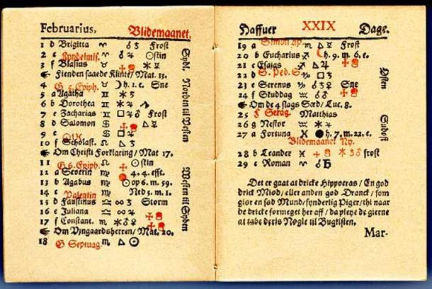 Updated version of the 1644 fortune-telling book. Note the variety of astronomic symbols.
